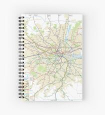 London Underground Geographical Map - Phone/Tablet Case, Poster, Sticker Spiral Notebook