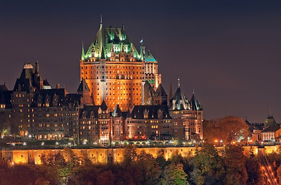 Night View of Le Chateau Frontenac (Version 2), Quebec City by Stephen Beattie