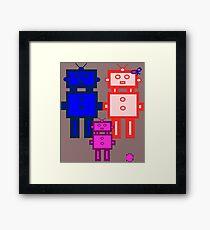 Retro robot family Framed Print