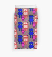 Retro robot family Duvet Cover