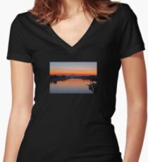 Mt Hood over Columbia River Border Crossing by Hayden Island OR early morning dawn sunrise Women's Fitted V-Neck T-Shirt