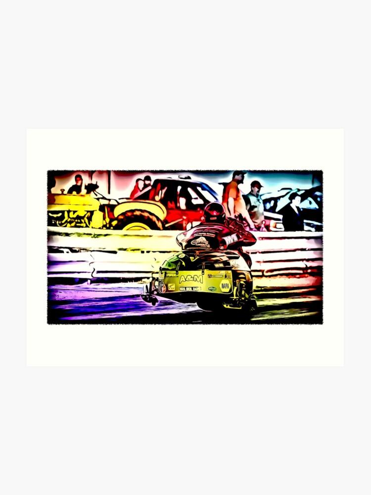 Fast snowmobile drag racing on asphalt | Art Print