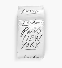 London. Paris. New York. Duvet Cover