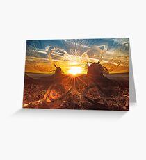 The Shattered Glass Sunset Over Monument Valley Greeting Card