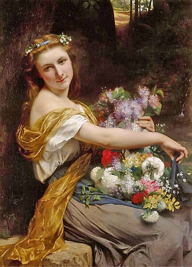 Pierre Auguste Cot Dionysia, paintings for sale, springtime, spring, flower girl, classical, Bouguereau, Cabanel, Cogniet, french, Academic Classicism, Academicism, neoclassicism, romanticism by Art Gallery