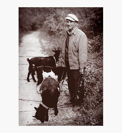 A Man and his Goat, Kyiv, Ukraine Photographic Print