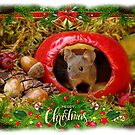 Christmas Mini Mouse in a log pile house by Simon-dell