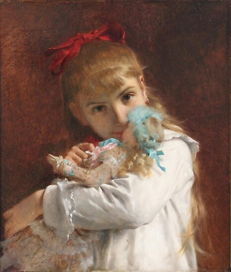 Pierre Auguste Cot Petite - Little girl, paintings for sale, french, Academic Classicism, Academicism, oil, doll, daughter, nursery, fairy tales, little women by Design Team
