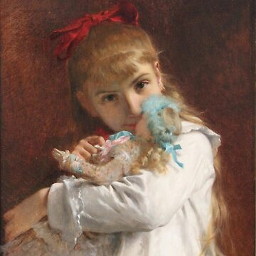Pierre Auguste Cot Petite - Little girl, paintings for sale, french, Academic Classicism, Academicism, oil, doll, daughter, nursery, fairy tales, little women by designteam