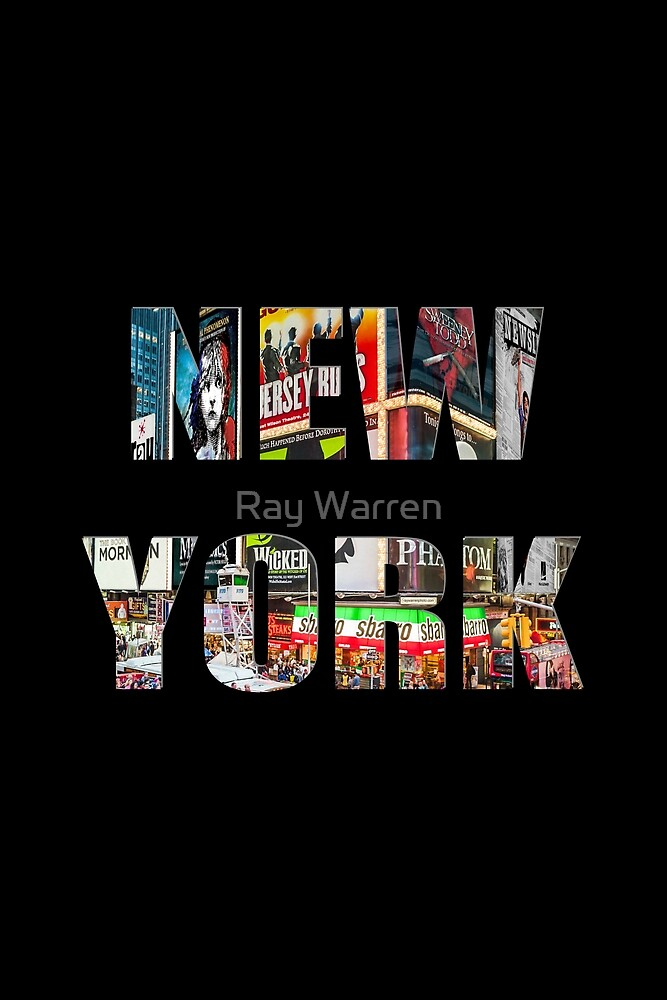 New York (colour photo type on black) by Ray Warren