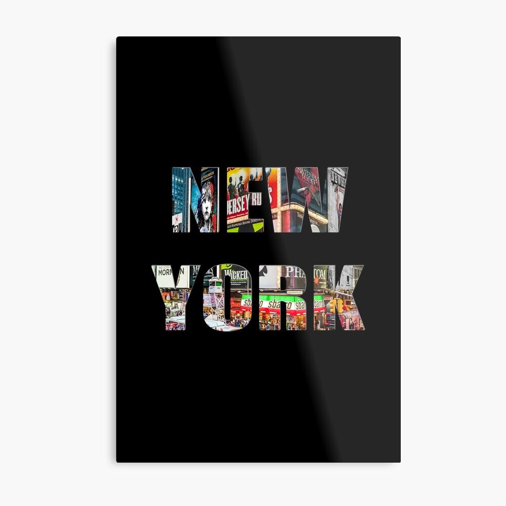 New York (colour photo type on black) Metal Print