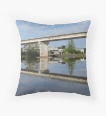 Reflections of the Jerseyville Bridge. Throw Pillow