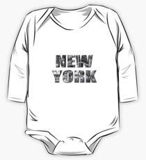 New York (black & white photo type on black) Long Sleeve Baby One-Piece