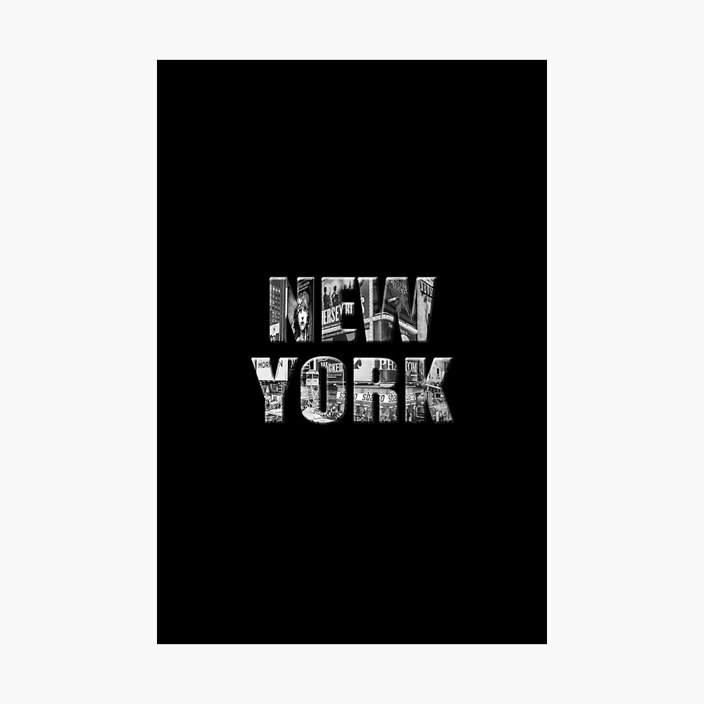 New York (black & white photo type on black) Photographic Print