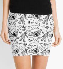 Cryptid Pattern Lines Black Mini Skirt