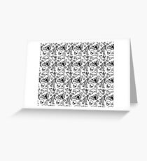 Cryptid Pattern Lines Black Greeting Card