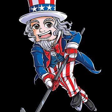 Hockey American Flag T shirt 4th of July Kids Boys Uncle Sam by LiqueGifts