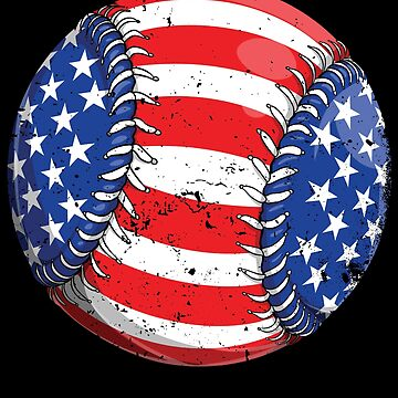 Baseball American Flag 4th of July T shirt Kids Boys Gifts by LiqueGifts