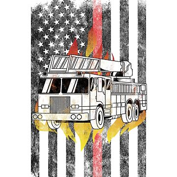 Fire truck  Flames American Flag Thin Red Line Firefighter Shirt by we1000