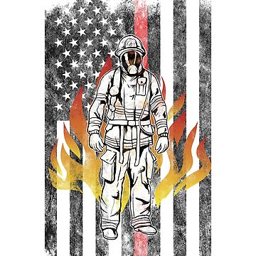 Firefighter  Flames American Flag Thin Red Line Firefighter Shirt by we1000