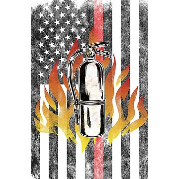 Fire extinguisher  Flames American Flag Thin Red Line Firefighter Shirt by we1000