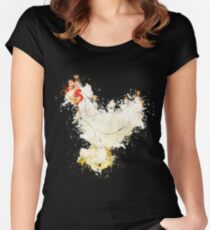 Chicken hen farm watercolor painted Women's Fitted Scoop T-Shirt