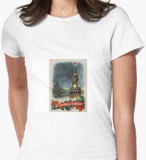 Happy New Year! #HappyNewYear #Vintage #Soviet #Postcard #VintageSovietPostcard #Postcard1953 #Moscow #Kremlin #Clock #Chimes #Spasskaya #Tower #Red #Star #RedStar #Christmas #Print #MoscowKremlin Women's Fitted T-Shirt