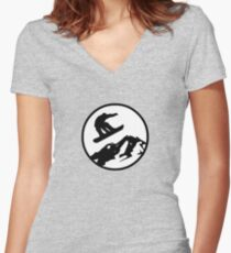 snowboarding 2 Women's Fitted V-Neck T-Shirt