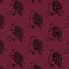Pomegranate woodblock in BLACK by J Edwards