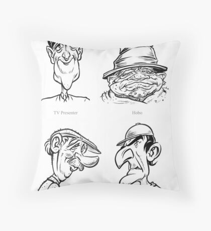 Caricature Sketches 1 Throw Pillow