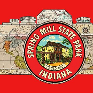Map Camera with Spring Mill State Park Indiana The Old Mill Vintage Travel Decal image in the Lens by Drewaw