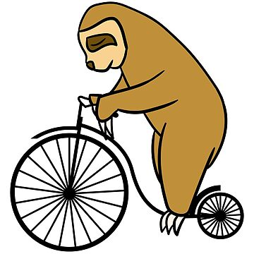 Sloth Riding A High Wheel Bicycle Gift by Reutmor