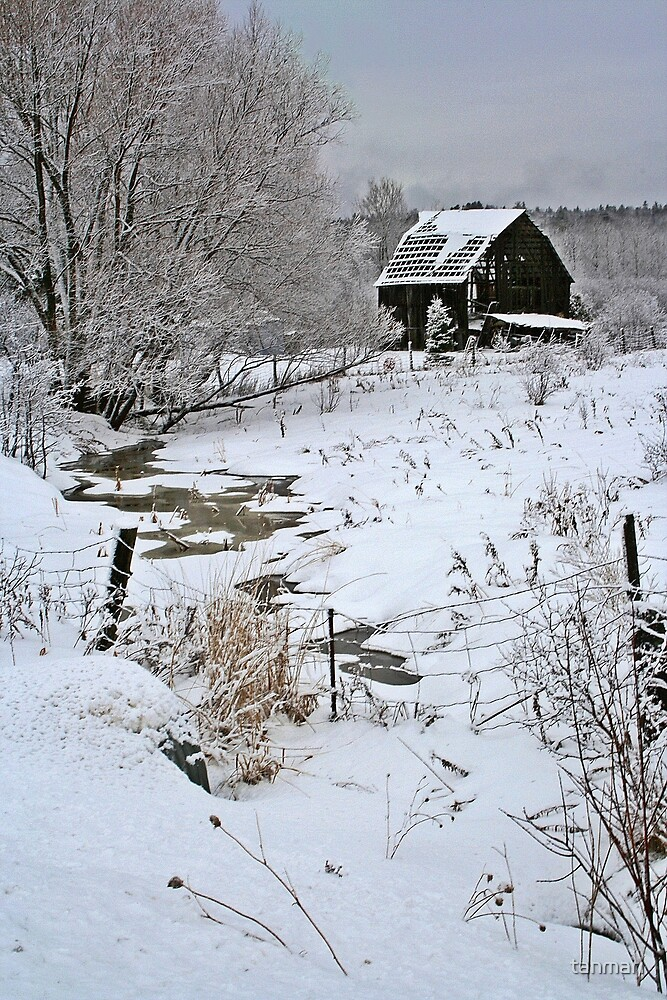 Quot Snow Barn And Creek Quot By Tanmari Redbubble
