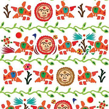 Colorfull indian folk art design by handcraftline