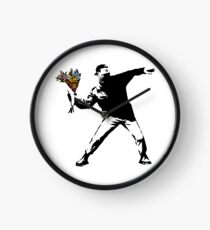 Banksy - Rage, Flower Thrower Clock