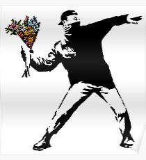 Banksy - Rage, Blumenwerfer Poster