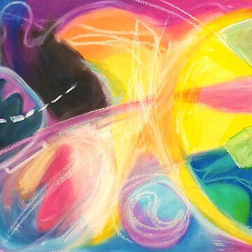apple. abstract art. oil pastel on paper. by terezadelpilar