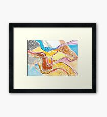 rivers. abstract oil pastel on paper Framed Print