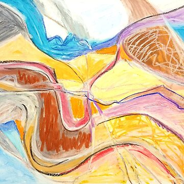 rivers. abstract oil pastel on paper by terezadelpilar
