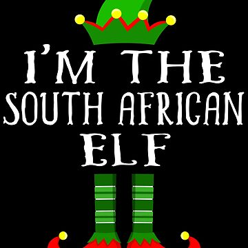 South African Elf T Shirt Matching Family Christmas Elf From South Africa Christmas group green pjs costume pajamas for siblings, parents, friends, adults funny Xmas quote elf hat & shoes by bulletfast