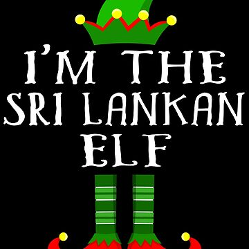 Sri Lankan Elf T Shirt Matching Family Christmas Elf From Sri Lanka Christmas group green pjs costume pajamas for siblings, parents, friends, adults funny Xmas quote elf hat & shoes by bulletfast