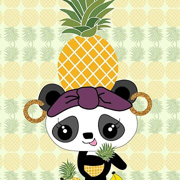 Carmen Miranda Panda with Pineapple by carolv723