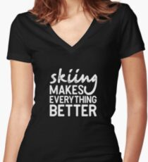 Skiing Winter Sports Snow Shirt Gift Women's Fitted V-Neck T-Shirt