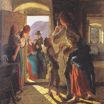 Entrance og the newlyweds-Ferdinand Georg Waldmüller by LexBauer