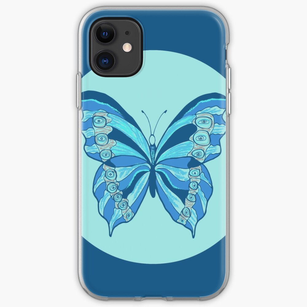 Circular Sea-Green-Blue Butterfly - Art and Patterns1 iPhone Soft Case