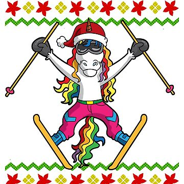 Unicorn Ski Jump Snowflake Ugly Christmas by frittata