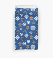 Christmas / Winter Robin Holly Gingerbread Man Snowflakes Pattern Blue Duvet Cover