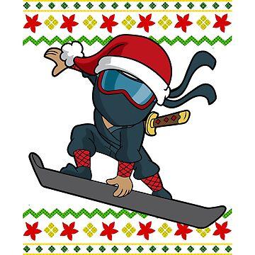 Ninja Snowboarder Snowflake Ugly Christmas by frittata