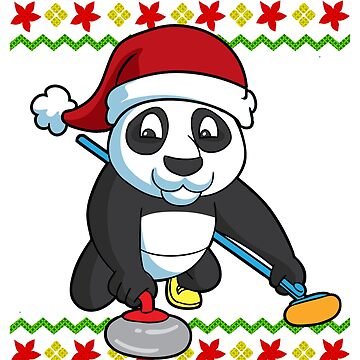 Santa Panda Curling Ugly Christmas by frittata
