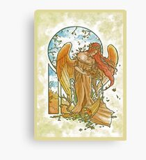 Angel of Autumn Mucha Inspired Art Nouveau Angels of the Seasons Series Canvas Print
